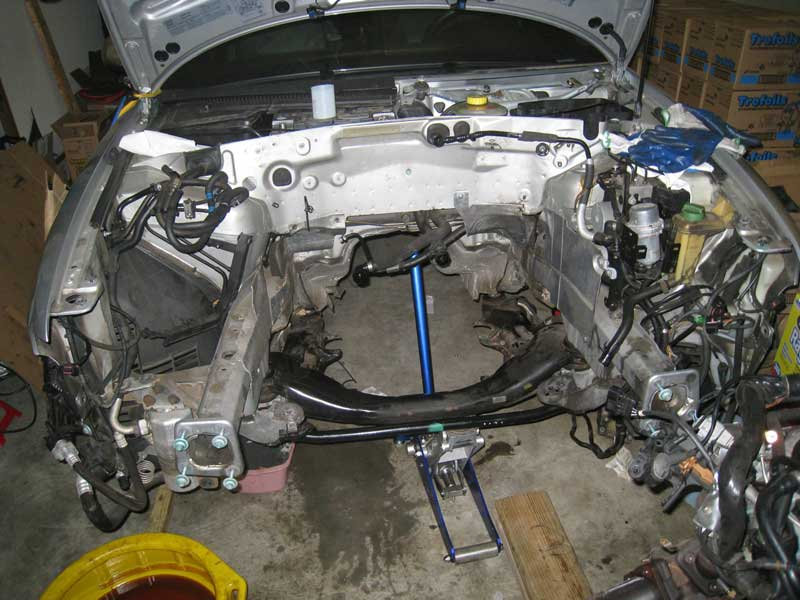 Silver car engine compartment