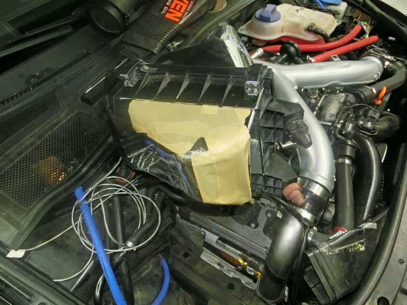 Stock S4 lower airbox with Darintake Mod holes covered