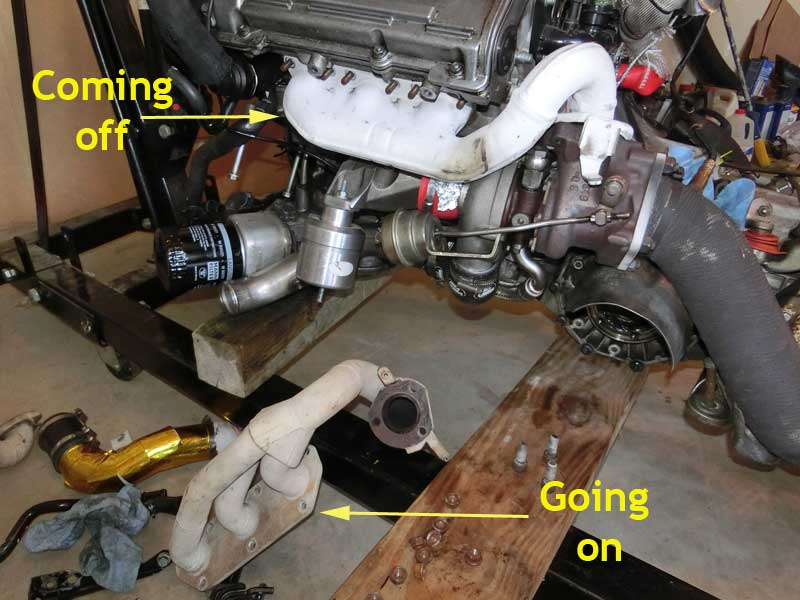 AWE and OEM Exhaust Manifolds