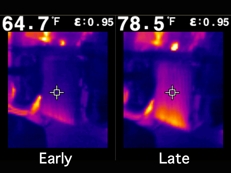 Side Mount Intercooler Thermal Image on Dyno